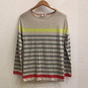 Boden Striped Pullover Shirt US 2 UK 6 Grey Yellow